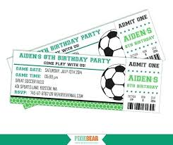 Soccer Party Invitations Soccer Party Invitation Birthday Ticket Printable Instant Download
