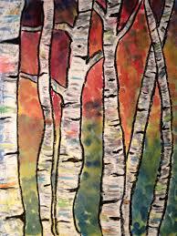 2nd grade oil pastels watercolor birch trees