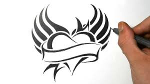 Awesome Heart Designs How To Draw A Heart With Wings Tribal Tattoo Design