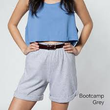 American Apparel Military Cuff Shorts New Heather Grey Xs High Waist Long Inseam Ebay