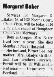 Obituary for Margaret S. Baker (Aged 56) - Newspapers.com