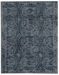 pottery barn bosworth printed wool rug blue