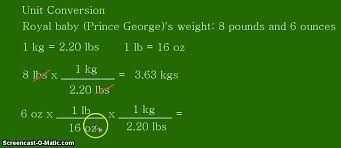 Royal Baby Weight Pounds To Kilograms Unit Conversion
