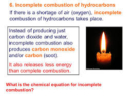incomplete combustion of hydrocarbons