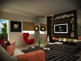 Model Living Room Design Living Room Gray Sofa Red Chairs White And Brown Patterned Rug