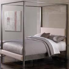 King size Modern Metal Platform Canopy Bed Frame with Upholstered ...
