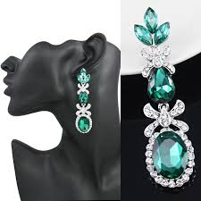 teal chandelier earrings sparkling earrings silver plated austrian crystal green dangling earrings