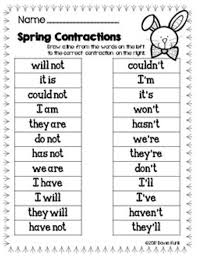 Contractions Worksheets and Literacy Center - Easter Eggs ...