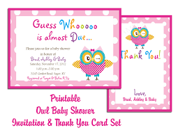 Printable Baby Shower Invitations Templates Printable Owl Baby Owl Baby Shower Thank You Cards