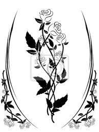 Fototapeta černá A Bílá Růže Siluetu Květinový Ornament černých A Bílých