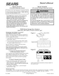 sears garage door remoteSears Garage Door Opener 13953759 User Guide  ManualsOnlinecom