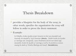 writing a literary essay notes on the organization and  thesis breakdown provides a blueprint for the body of the essay in other words
