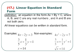 linear equation in standard form
