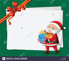 Santa On Christmas Card Template Illustration Stock Vector