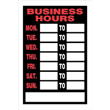 Small Picture The Hillman Group 8 in x 12 in Plastic Business Hours Sign