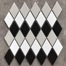 black and white diamond tile floor. Wonderful Black 3D Black White Grey Glossy Diamond Shaped Ceramic Mosaic Background Wall  Tiles Bathroom Kitchen And Tile Floor W