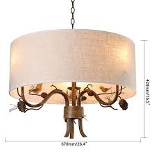 pendant lighting drum fabric shade curved branch arms 3 light ceiling chandelier