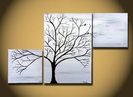 exterior: Creative Cool Simple Paintings Used Three Canvas Different Size  Put On Plain Wall Paint