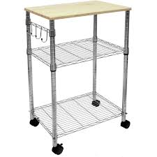 stainless steel kitchen island cart with wooden top for kitchen furniture idea