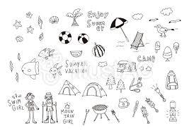 イラスト フリー素材 手描き 線画 かわいい 夏 アウトドア Art