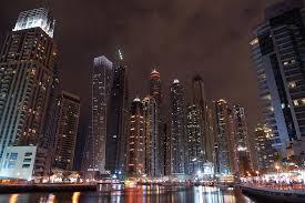 The Night Lights Of Dubai Marina