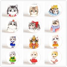 cartoon kitty refrigerator magnets cat 25 mm fridge magnet set glass dome ornaments lovely magnetic stickers diy home decor rubber fridge magnets rude