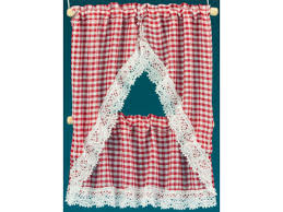 dolls house red gingham kitchen curtains valance on rail miniature accessory