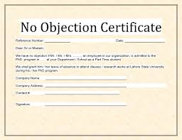 no objection certificate for employee sample no objection certificate free word templates