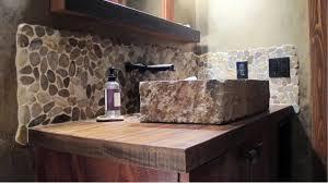 pebble mosaic solid wood countertop stone vessel sink rivera pebble backsplash emser tile natural stone antique