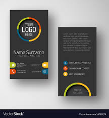 Modern Dark Vertical Business Card Template With