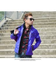 men s outerwear jackets blousons tops brother blue royal blue bitter bittar riders jacket pu leather faux leather collar