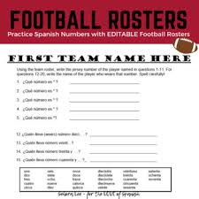 Spanish Numbers 1 100 Football Rosters Activity