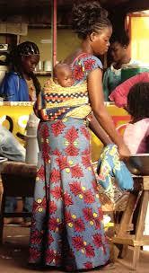 wearing african wax print fabric in africa
