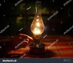Oil Lamp Light Oil Lamp Lighting Darkness Vintage Objects Stock Image