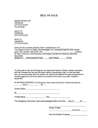 Equipment Bill Of Sale Fill Online Printable Fillable