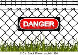 Vector  Wire Fence With Barbed Wires