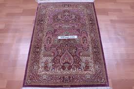 4x2 dark red silk qum persian rug signed qom carpet