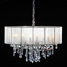 Branch Chandelier Chrome 8 Branch Chandelier With White Shade