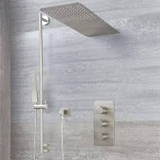 brushed nickel shower system brushed nickel shower bar system