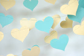 Blue And Gold Baby Shower Decorations Gold And Teal Blue Heart Paper Garland Turquoise And Gold