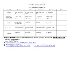 Homework Chart For Parents 3rd Grade Nov 16