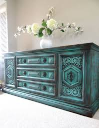 teal blue furniture. Vintage Hand Painted French Country Cottage Chic Shabby Distressed Weathered Turquoise / Teal Blue Dresser Console Cabinet Furniture F