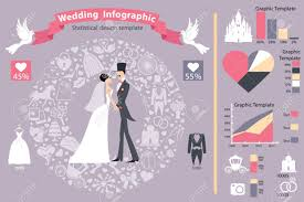 Wedding Diagram Wedding Infographics Set Cartoon Bride And Groom With Icons