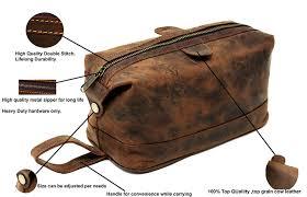 men s buffalo genuine leather toiletry bag waterproof dopp kit shaving bags and grooming kit for travel groomsmen gift for men women hanging zippered