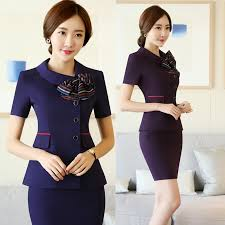 short sleeve professional suit female spring and summer temperament slim hotel catering front desk uniforms two sets of skirts in women s sets from women s