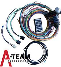 amazon com wisamic 10 circuit basic wiring harness fuse box a team performance 14 circuit basic wire kit small wiring harness rat street rod sand