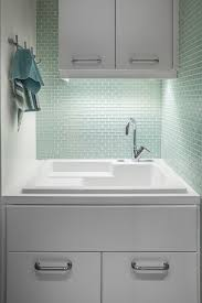 Utility Sink Backsplash Best Mint Green Tiles Contemporary Laundry Room 48id Interiors