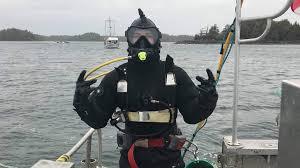 Geoduck diver Cam Liptrot suited ...