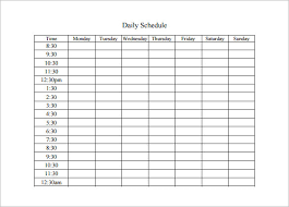 Microsoft Word Schedule Templates Daily Schedule Template Word Emmamcintyrephotography Com