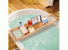 HiCollie Craft Natural Bamboo Bathtub Caddy/Bath Tub Tray Organizer with  Adjustable Sides Expand to 43 inches Stainless Steel Book Holder Acrylic  Damboard ...